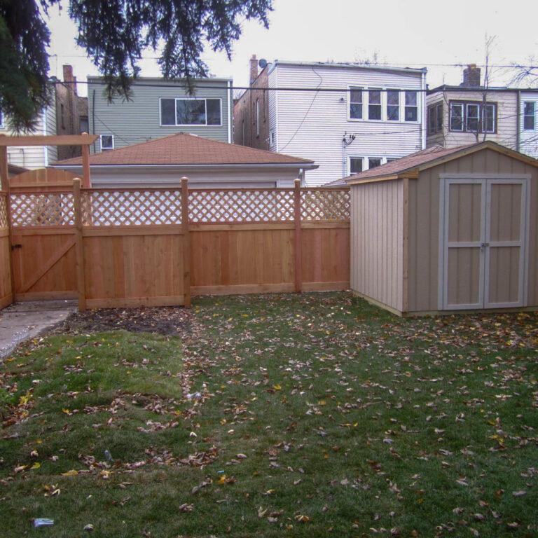 Alternative backyard view of fence