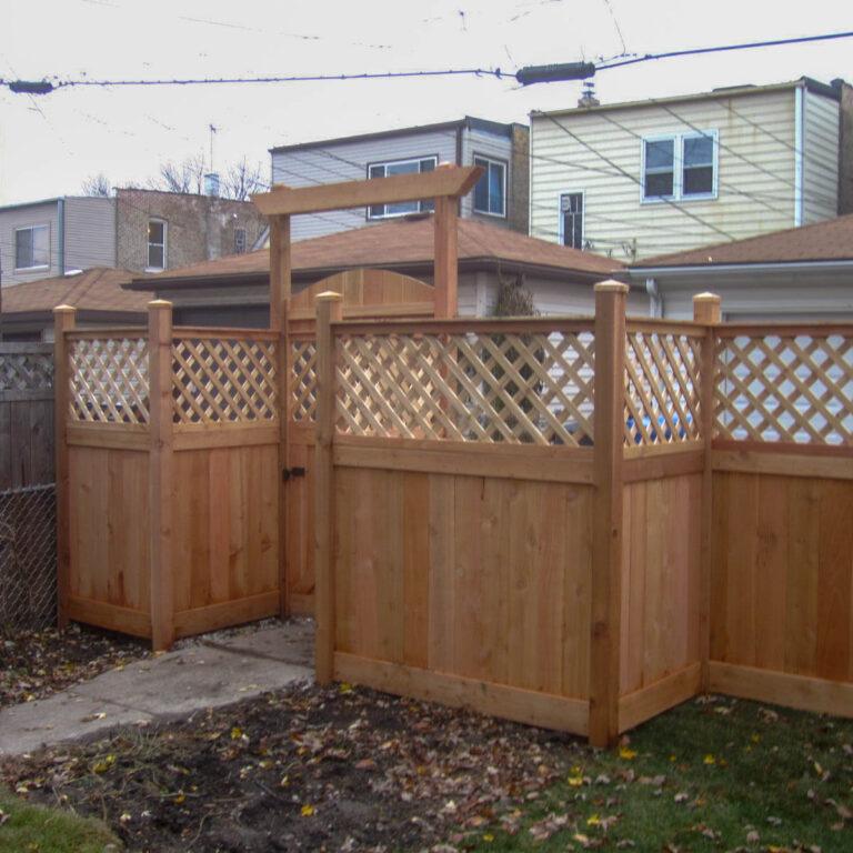 Backyard view of fence gate