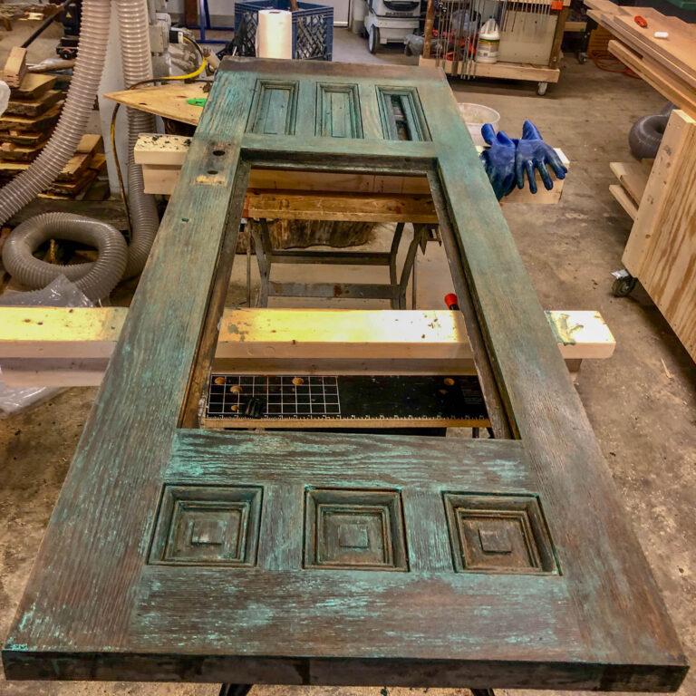 In-process door restoration - exterior