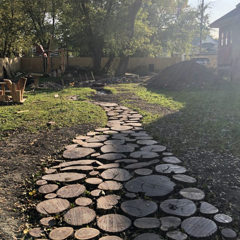 Winding cookie path harvested from nearby trees