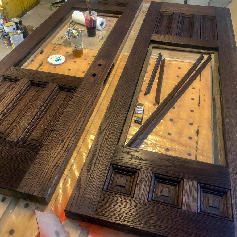 In-process door restoration finishing