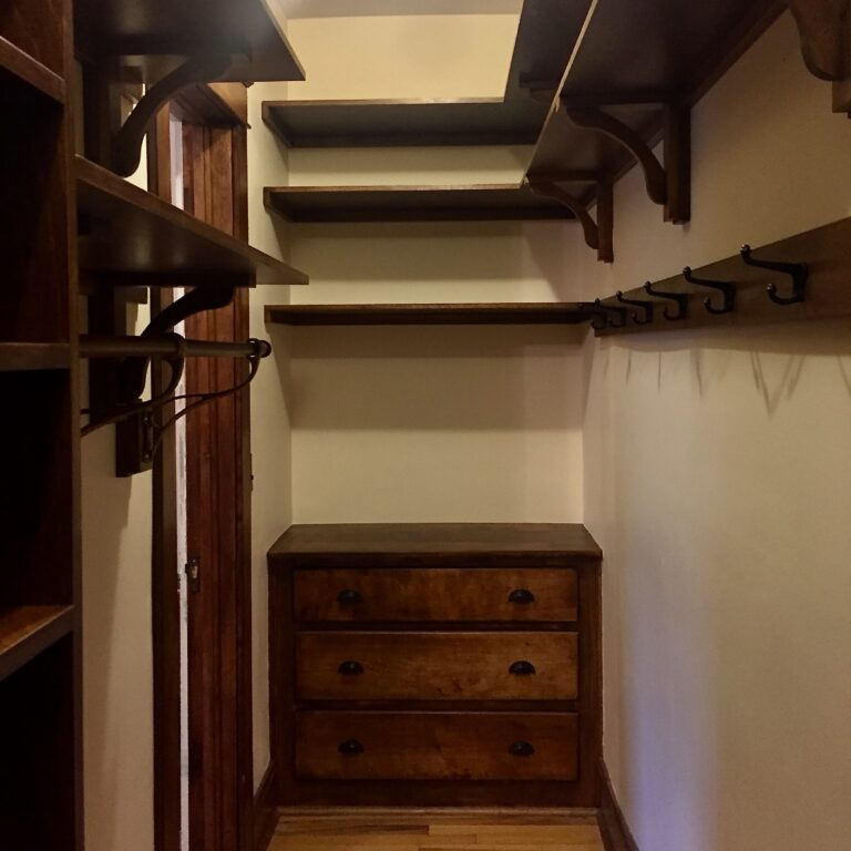 New shelves and coat hooks, restored built-in drawers