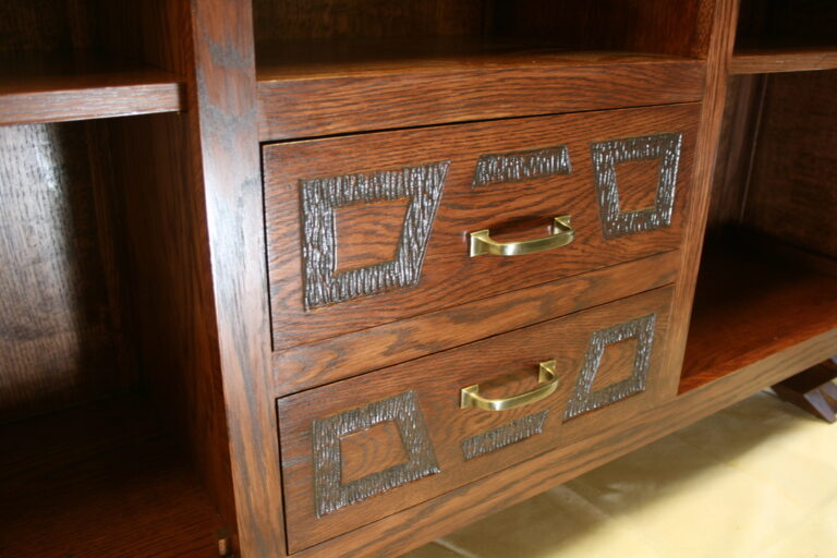 Hand carved drawers with dovetail construction