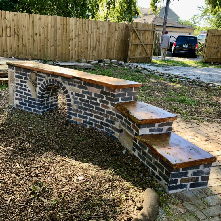 Brick Step Wall with a Kid-sized Archway