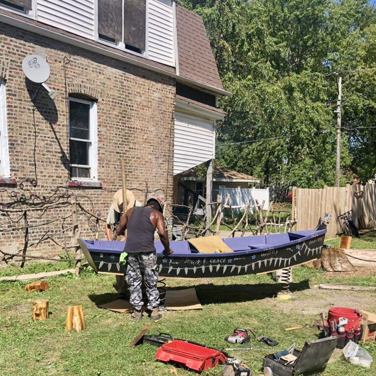 Installation of a Bouncy Boat; Boat Generously Donated to I Grow by the Chicago Maritime Arts Center who Built this Boat with one of their Youth Programs