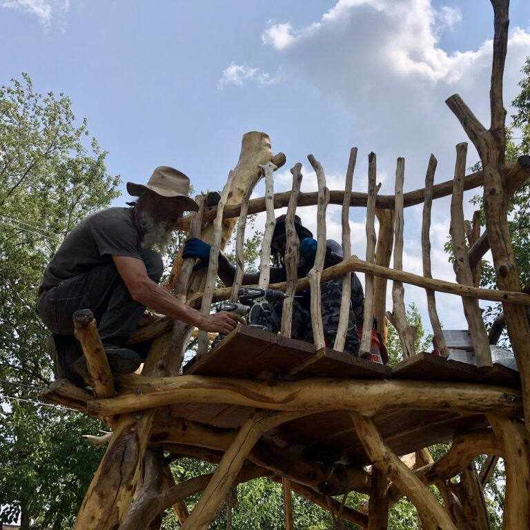 Attaching Mulberry Balusters to Complete the Play Sculpture